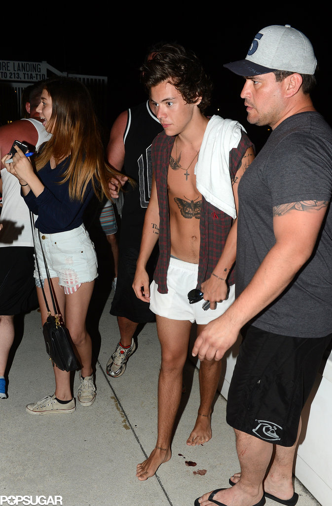 Harry Styles went shirtless for a yacht outing in Miami.