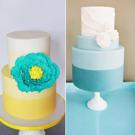 4. A Color Blocked Wedding Cake