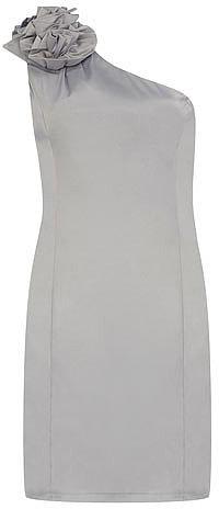 Silver ruffle satin dress