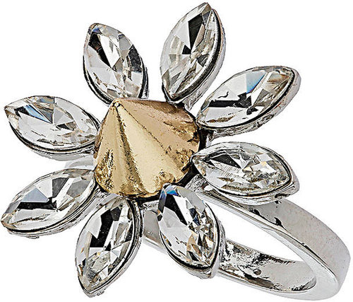 Rhinestone Flower Spike Ring