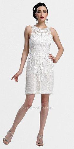 White Short Sheath Yoke Cocktail Dresses by Sue Wong