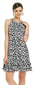 MSK® Sleeveless Halter Tiered Hem Animal Print Dress