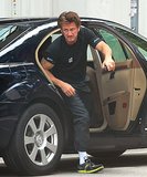 Sean Penn was spotted getting out of a car on the set of The Gunman on Tuesday in Barcelona, Spain.