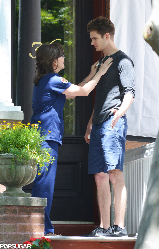 Sally Field filmed a scene with Andrew Garfield on the set of The Amazing Spider-Man 2 on Wednesday.
