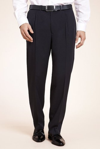 Crease Resistant Active Waistband Pleat Front Straight Fit Trousers