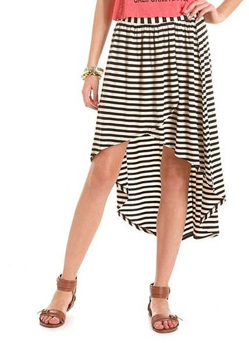 Striped Hi-Low Knit Skirt