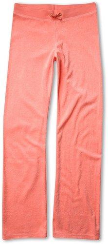 Juicy Couture Kids - Micro Terry Basics Original Leg Pant (Toddler/Little Kids/Big Kids) (Bubblegum) - Apparel