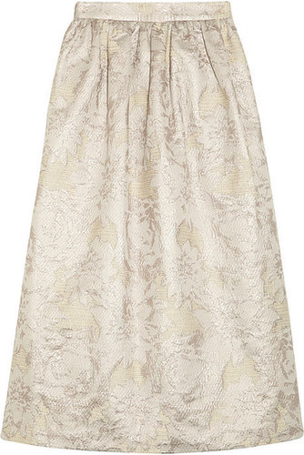 Suno Metallic jacquard midi skirt