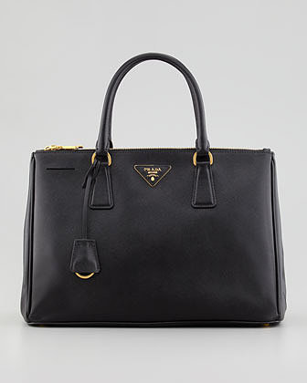 Prada Saffiano Small Double-Zip Executive Tote Bag, Black