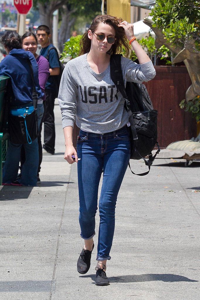 Kristen Stewart hit the streets of LA wearing a Nike jumper, as she headed to a casual business meeting on June 14.