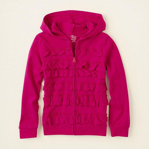 Uniform ruffle zip-up hoodie