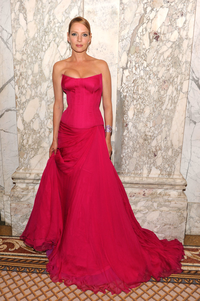 Uma Thurman wore a hot-pink number.