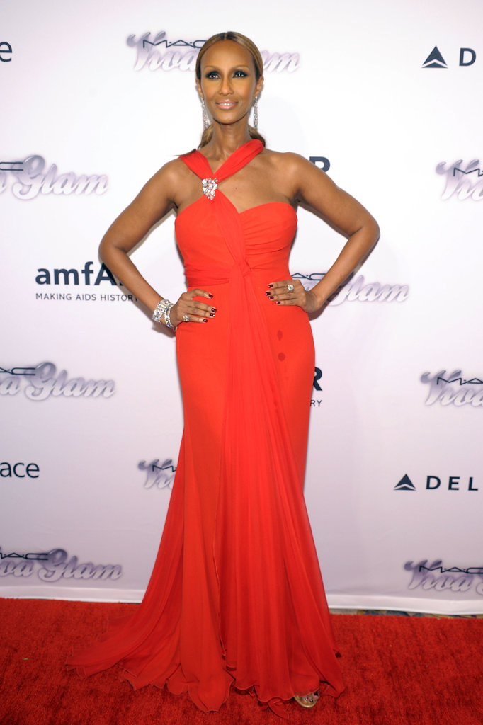 Iman strutted down the red carpet.
