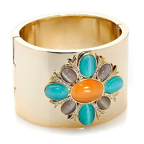 "Roberto Faraone Mennella ""Acquerello"" Pastel Stone and Crystal Goldtone Cuff-Style Bangle Bracelet Log in to POPSUGAR and tell us which of the following HSN.com jewelry offerings is No. 1 on your Summer must-have list at the end of this poll!"