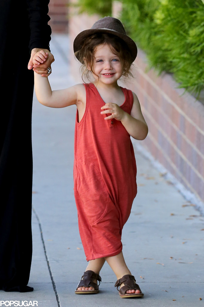 Skyler Berman wore a hat and a red onesie.