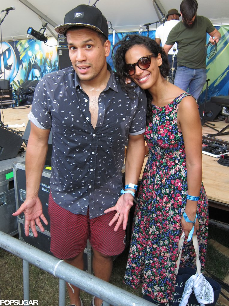 Johnnyswim's Abner Ramirez and Amanda Sudano after their show — in a flurry of eye-catching prints.