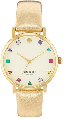 Kate Spade New York 'metro Patchwork' Leather Strap Watch, 34mm