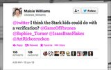 Game of Thrones actress Maisie Williams fights for the kids in the North on Twitter.