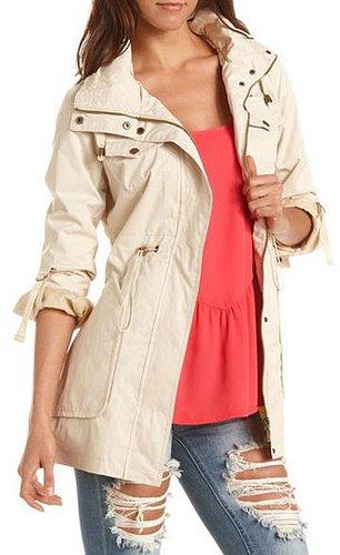 Hooded Cinch-Waist Coat