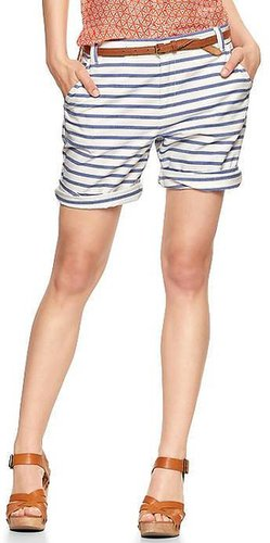 Striped boyfriend roll-up shorts