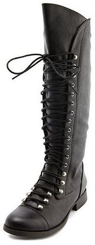Exposed-Zip Lace Up Boot