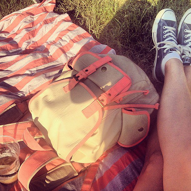 A matching moment we had to capture — tan and coral is a festival favorite of ours. Source: Instagram user popsugarfashion