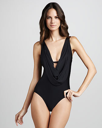 Luxe by Lisa Vogel Opening Night Cowl Maillot Swimsuit
