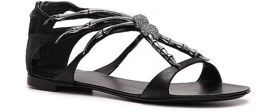 Giuseppe Zanotti Metallic Suede Spider Flat Sandal