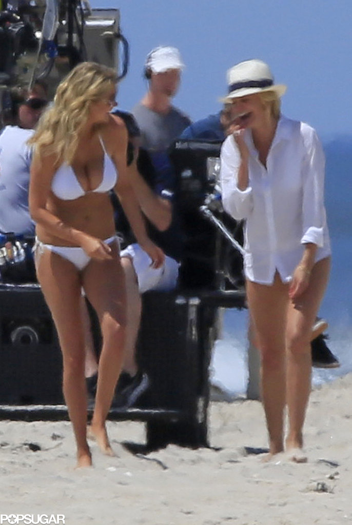 Cameron Diaz shared a giggle with Kate Upton.