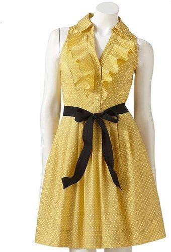 Elle™ polka-dot ruffle shirtdress
