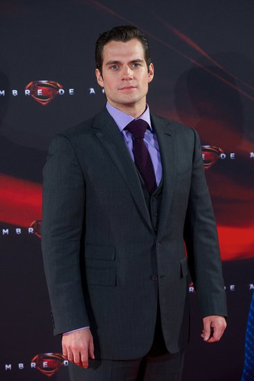 Henry Cavill posed on the red carpet at the Man of Steel premiere in Madrid.