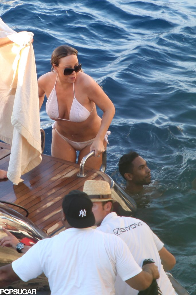 Mariah Carey wore a bikini in the Blue Grotto.