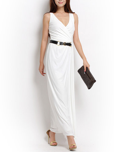 2013 New Style White Long V-Neck Dress