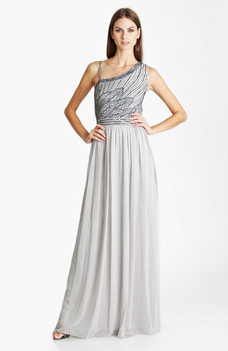 Beaded Asymmetrical Shoulder Chiffon Gown