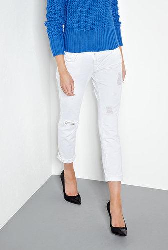 J Brand Denim White Aiden Distressed Mid-rise Boyfriend Jeans