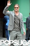 Brad Pitt gave a wave on his way to a Good Morning America appearance.