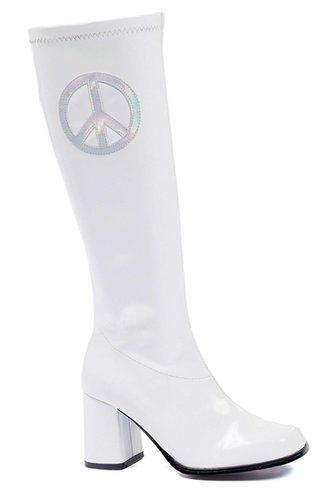 "Ellie Shoes E-300-Peace, 3"" Gogo Boot with zipper and peace sign-Satin-Boutique.com"