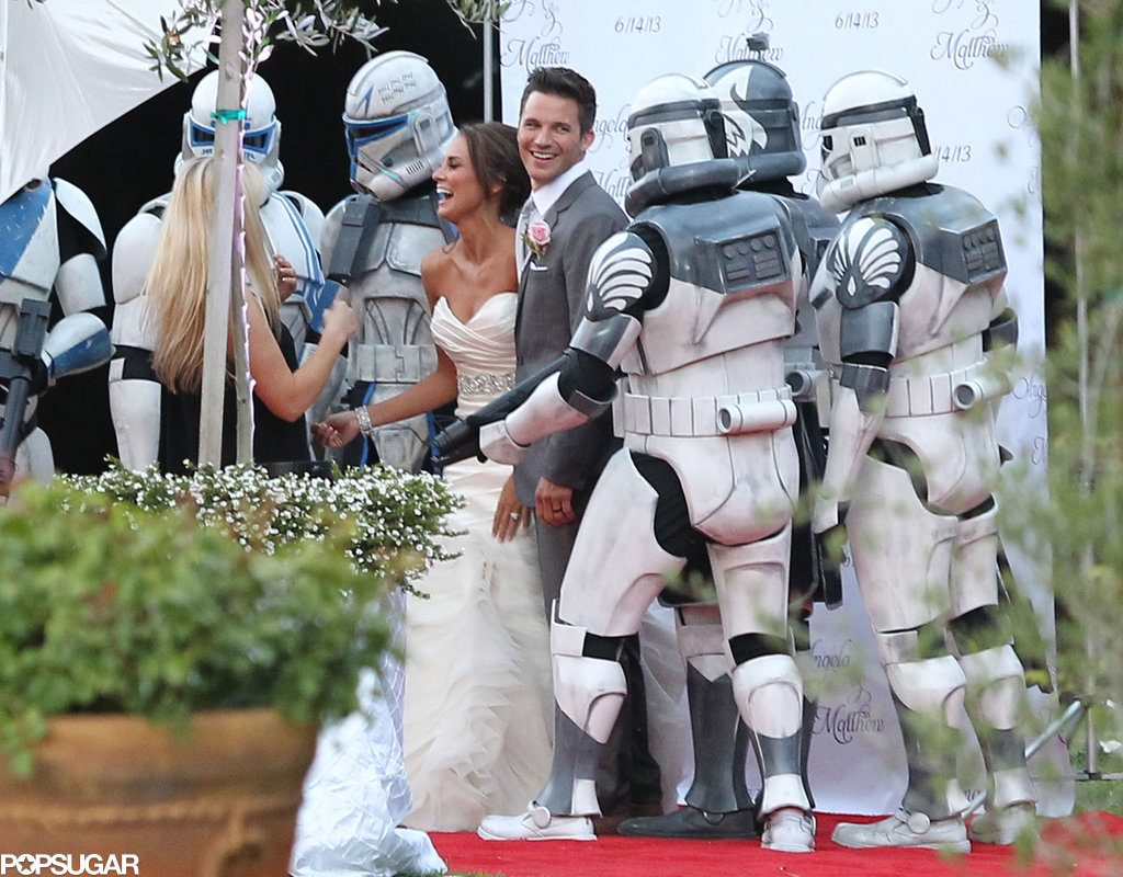 Matt Lanter and Angela Stacy tied the knot in Malibu in June 2013 and posed for photos with robots after the ceremony.