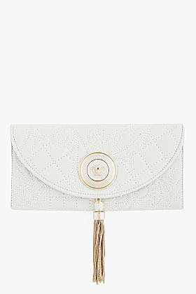 VERSACE White Lamb Leather Embossed and quilted clutch