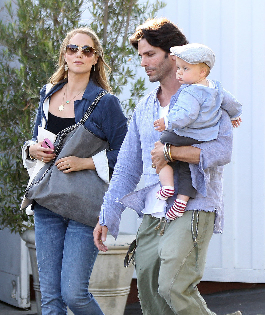 Elizabeth Berkley spent time with her husband, Greg Lauren, and son, Sky Lauren, at the Brentwood Mart in LA's Brentwood district.