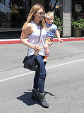 Hilary Duff took her son, Luca Comrie, out for lunch and shopping in Beverly Glen, CA, on Saturday.
