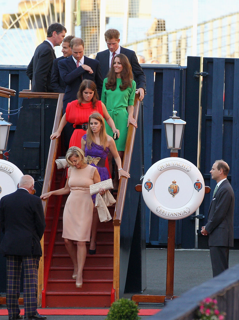 Kate Middleton, Prince Harry, Prince William, Princess Beatrice, and other members of the royal family were spotted leaving Zara Phillips's prewedding boat party in Edinburgh, Scotland, in July 2011.
