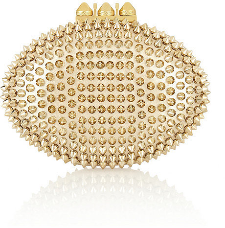 Christian Louboutin Mina spiked metallic leather clutch