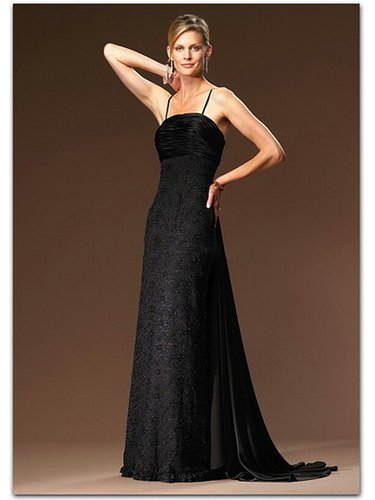 Appliques Lace A-line Spaghetti Straps Sweep Train Black Mother of The Bride Dress WBD0055