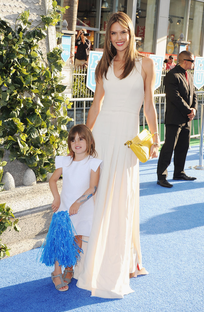 Alessandra Ambrosio walked the blue carpet with daughter Anja.