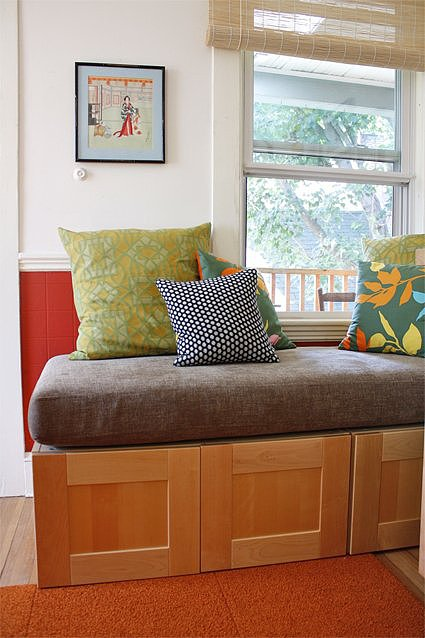 Upcycle Your Crib Mattress Into a Kitchen Storage Bench