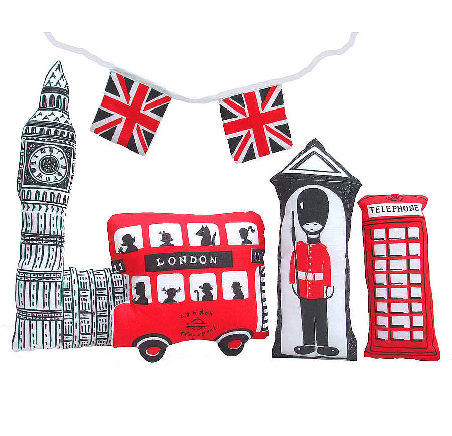 For craft seamstresses, there's Sewgirl's sweet Make a Little London kit ($13), a sheet of fabric printed with London attractions that can be cut and sewn into little pillows.
