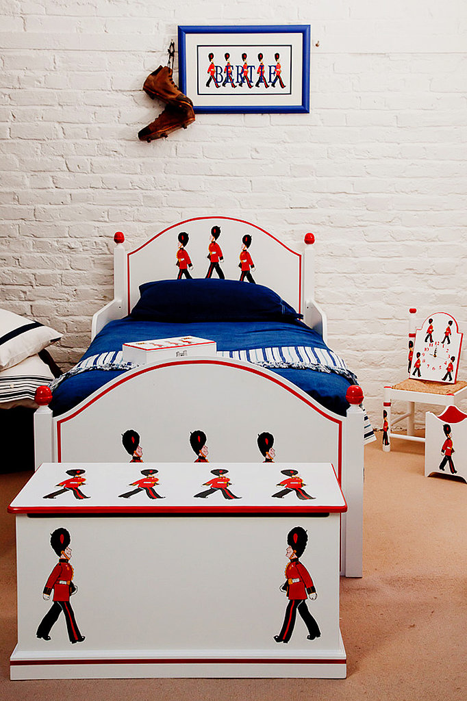 Dragons of Walton Street, the tot hand-painted furniture store in London that designed Prince William's nursery, has their own London-themed pattern — Terry's Soldiers — that can adorn anything from toy chests and wastebaskets to beds, chairs, and bookshelves.