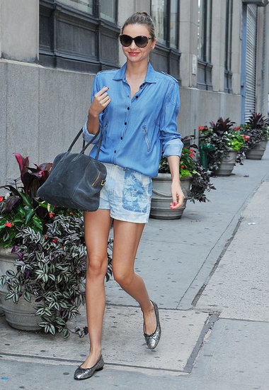 Miranda Kerr gave us a double dose of Summer denim in NYC.
