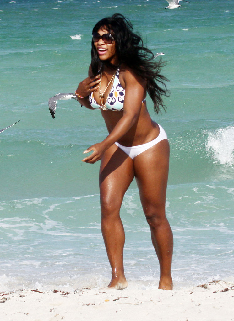In October 2010, Serena Williams spent a windy day in the surf in Miami.